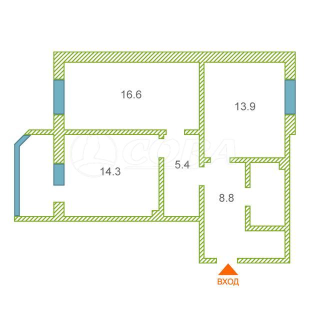 2 комнатная квартира  в районе Черный мыс, ул. Щепеткина, 20Б, г. Сургут