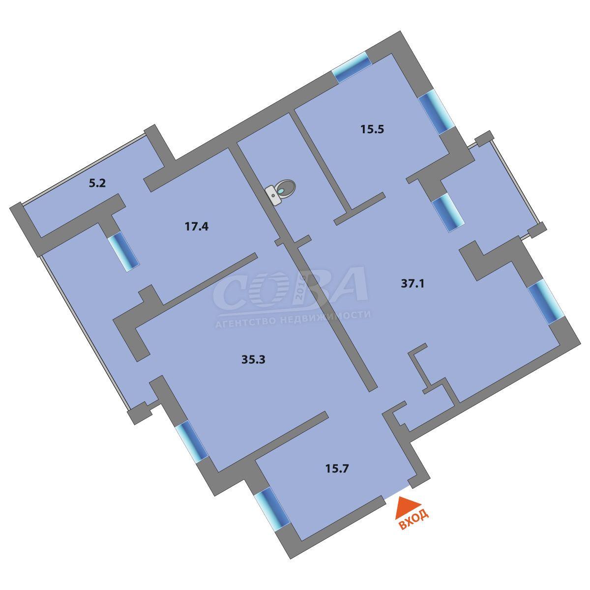 3 комнатная квартира  на КПД в районе 50 лет Октября, ул. 50 лет Октября, 62А/2, г. Тюмень