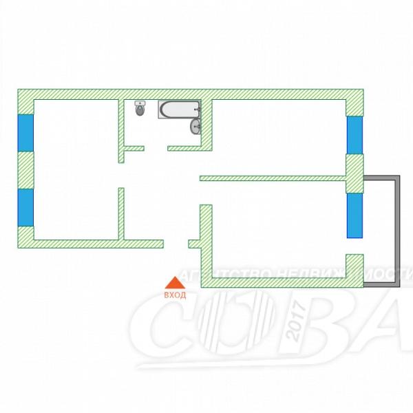 2 комнатная квартира  в районе Тарманы, ул. Малышева, 18, г. Тюмень