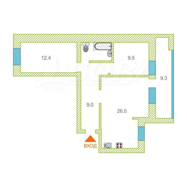 3 комнатная квартира  в районе ул.Елизарова, ул. Максима Горького, 10, г. Тюмень