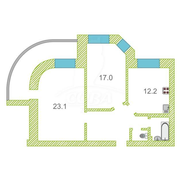 2 комнатная квартира  в районе студгородка, ул. Мельникайте, 71, г. Тюмень