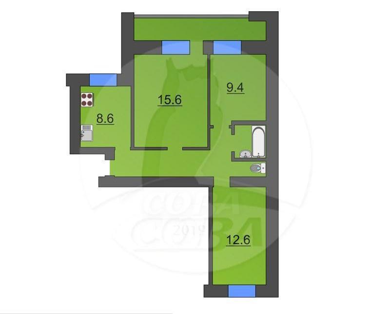 3 комнатная квартира  в Заречном 2 мкрн., ул. Заречный проезд, 12, г. Тюмень