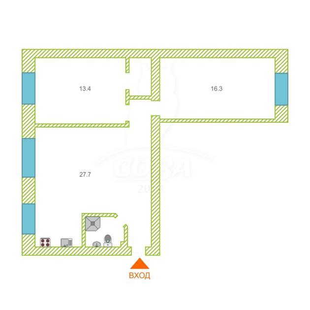 3 комнатная квартира  в районе Матмасы, ул. Пражская, г. Тюмень