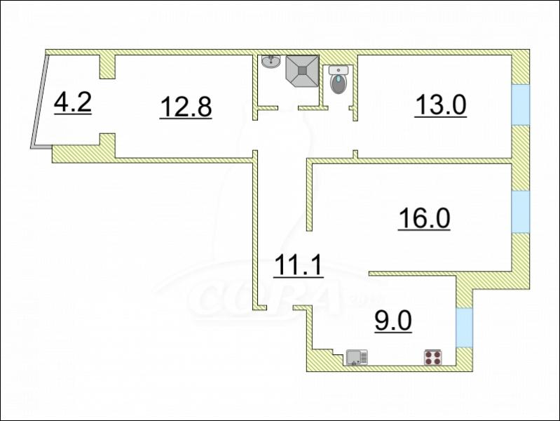 3 комнатная квартира  в 5 микрорайоне, ул. Широтная, 55, г. Тюмень
