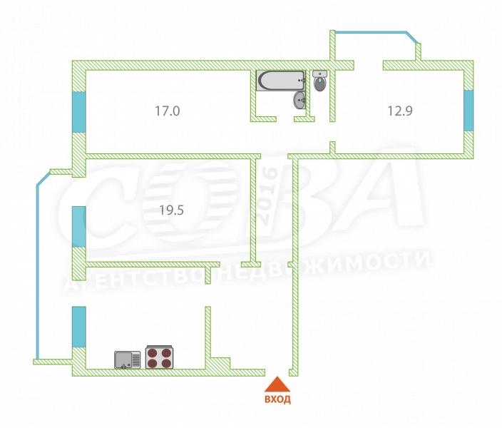 3 комнатная квартира  в районе Московского тр., ул. Московский тракт, 135/2, г. Тюмень