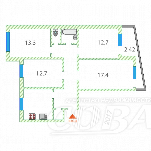 4 комнатная квартира  в 6 микрорайоне, ул. проезд 9 Мая, 2, г. Тюмень