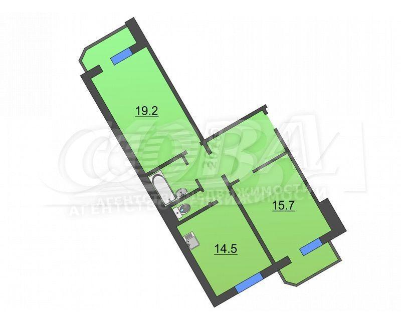 2 комнатная квартира  в Тюменском-3 мкрн., ул. Пермякова, 68, г. Тюмень