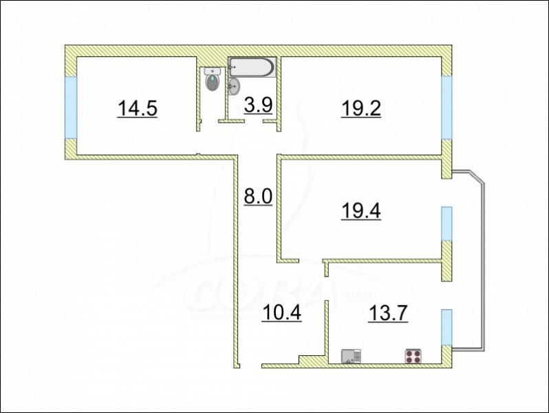 3 комнатная квартира  в районе ул.Малыгина, ул. Малыгина, 14, г. Тюмень