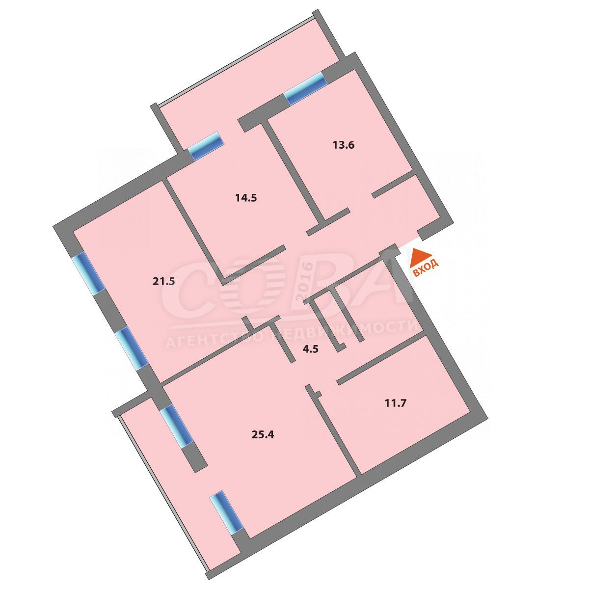 4 комнатная квартира  в Южном микрорайоне, ул. Федюнинского, 7Б, г. Тюмень