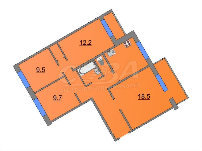 4 комнатная квартира  в Южном микрорайоне, ул. Ставропольская, 11А, г. Тюмень