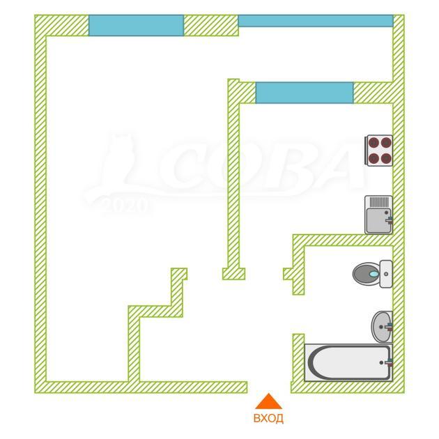 1 комнатная квартира  в районе Червишевского тр., ул. Червишевский тракт, г. Тюмень