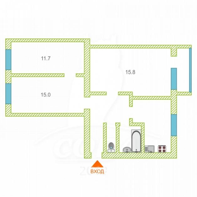 3 комнатная квартира  в районе Лесной мкр., ул. Лесной мкр., 5, г. Тюмень
