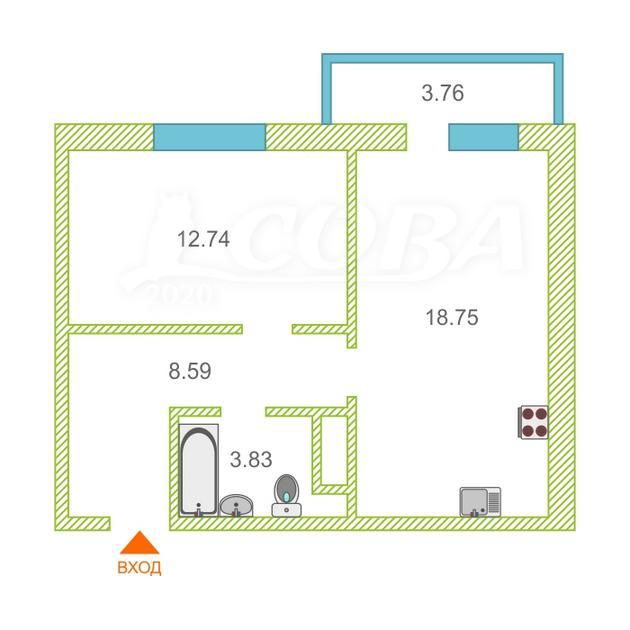1 комнатная квартира  в районе Тюменская слобода, ул. Вадима Бованенко, 1, Жилой комплекс «Легенда Парк», г. Тюмень