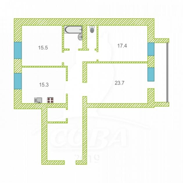3 комнатная квартира  в районе Московского тр., ул. Московский тракт, 161/1, г. Тюмень