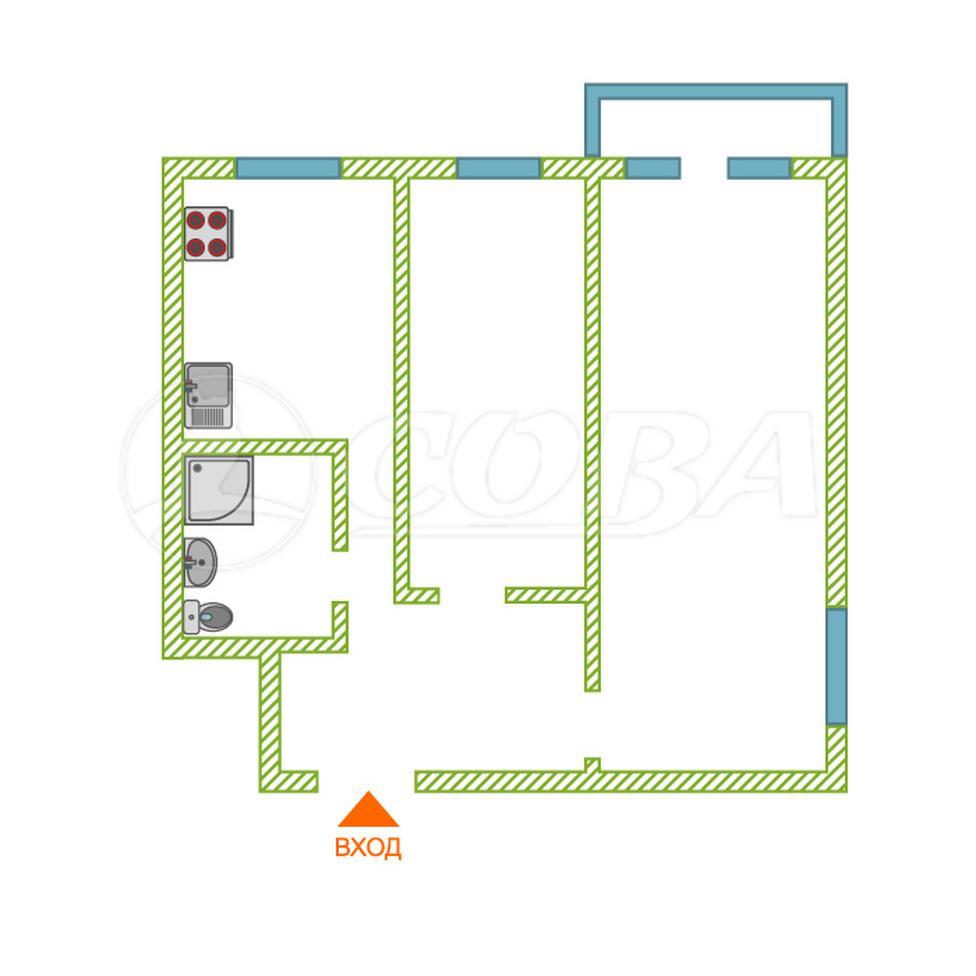 2 комнатная квартира  в районе Центральный, ул. Коли Мяготина, 66, г. Курган