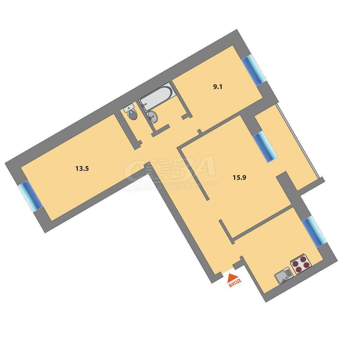 3 комнатная квартира  в районе ул.Малыгина, ул. Радищева, 27, г. Тюмень