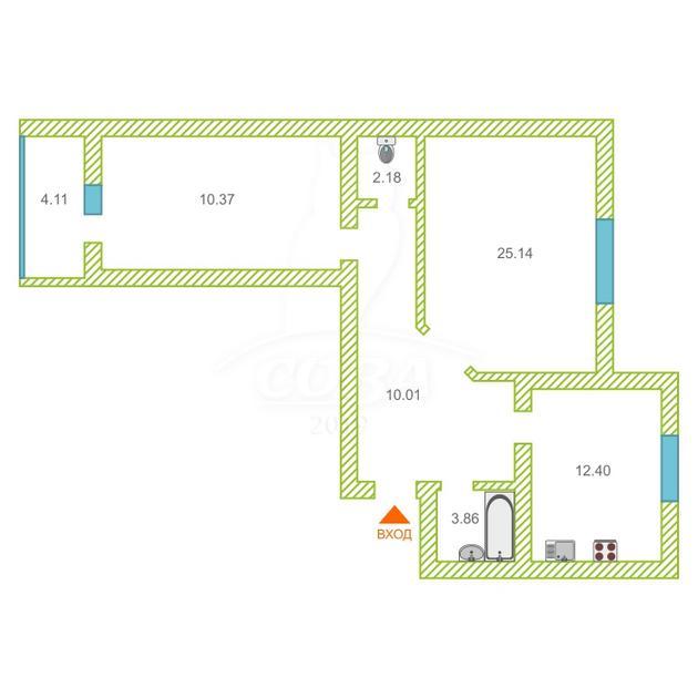 2 комнатная квартира  в Восточном 2 мкрн., ул. Широтная, 209, г. Тюмень