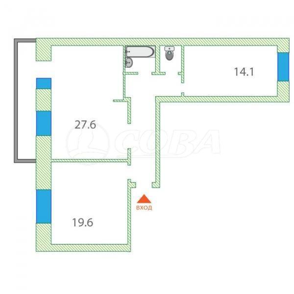 2 комнатная квартира  в районе ММС, ул. Мелиораторов, 1, г. Тюмень
