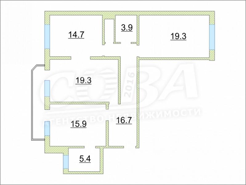 3 комнатная квартира  в Восточном 2 мкрн., ул. Широтная, 171/4, г. Тюмень