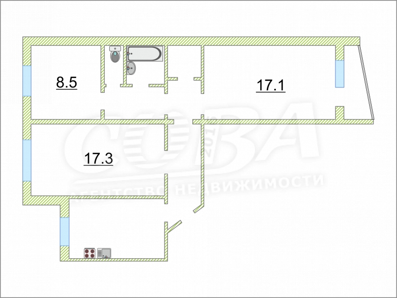 3 комнатная квартира  в 3 микрорайоне, ул. Пермякова, 21, г. Тюмень