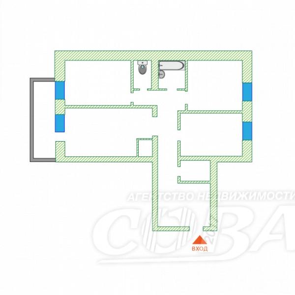 3 комнатная квартира  в центре Тюмени, ул. Смоленская, 46, г. Тюмень