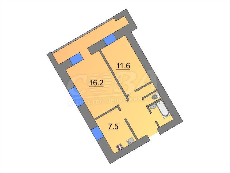 2 комнатная квартира  в 5 микрорайоне, ул. Пермякова, 52, г. Тюмень