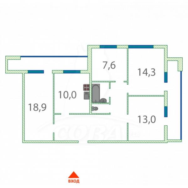 4 комнатная квартира  в 6 микрорайоне, ул. Валерии Гнаровской, 7, г. Тюмень