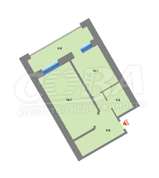 1 комнатная квартира  в районе Дома печати, ул. Котельщиков, 2, г. Тюмень