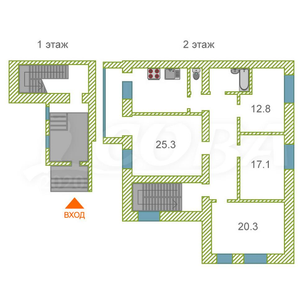4 комнатная квартира , ул. улица Северный микрорайон, 8, с. Каскара