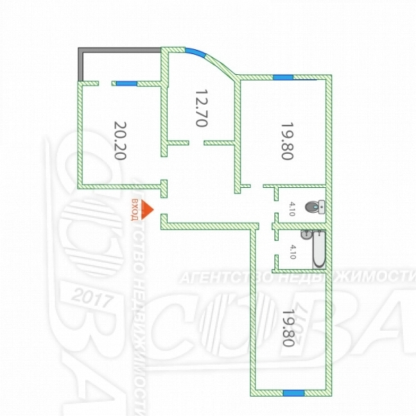 3 комнатная квартира  в районе Червишевского тр., ул. Червишевский тракт, 64/2, г. Тюмень