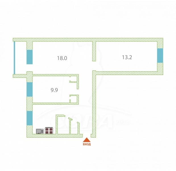 3 комнатная квартира  в районе Войновка, ул. Станционная, 28, г. Тюмень