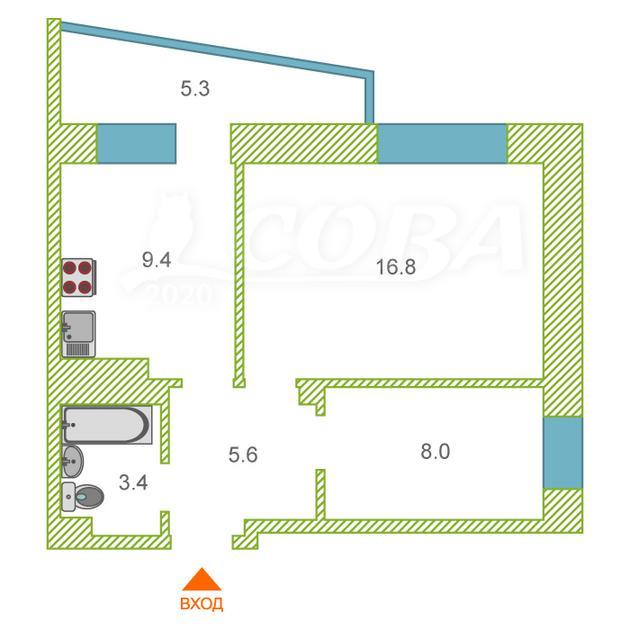 2 комнатная квартира  в Заречном 3 мкрн., ул. Газовиков, 53, г. Тюмень