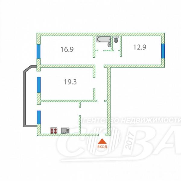 3 комнатная квартира  в районе Нефтегазового университета, ул. Одесская, 46, г. Тюмень