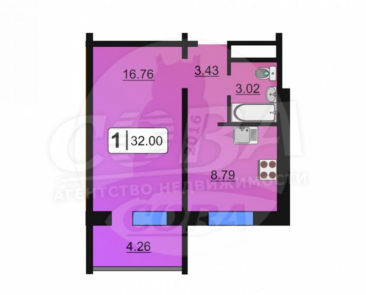 1 комнатная квартира  в районе ММС, ул. Сидора Путилова, 43, Жилой комплекс «Лукоморье», г. Тюмень
