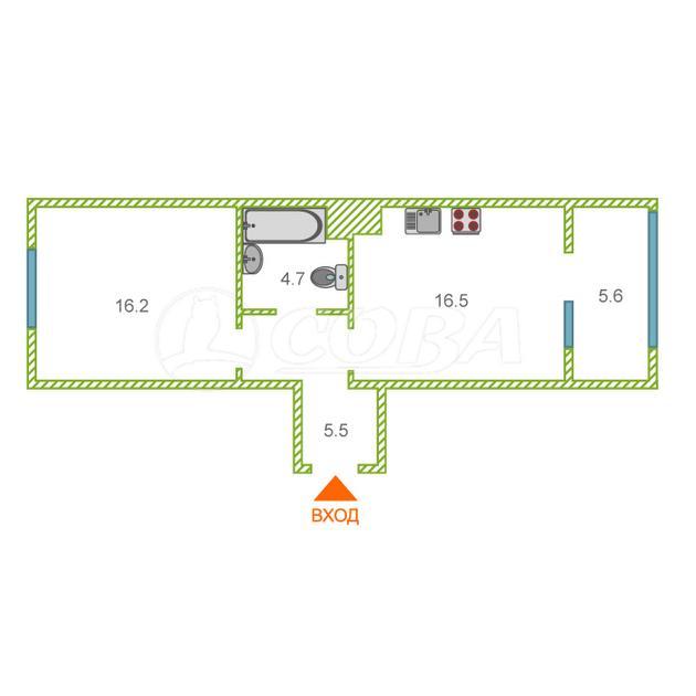 1 комнатная квартира  в новом доме,  в районе Ожогина / Патрушева, ЖК «Ожогино», г. Тюмень