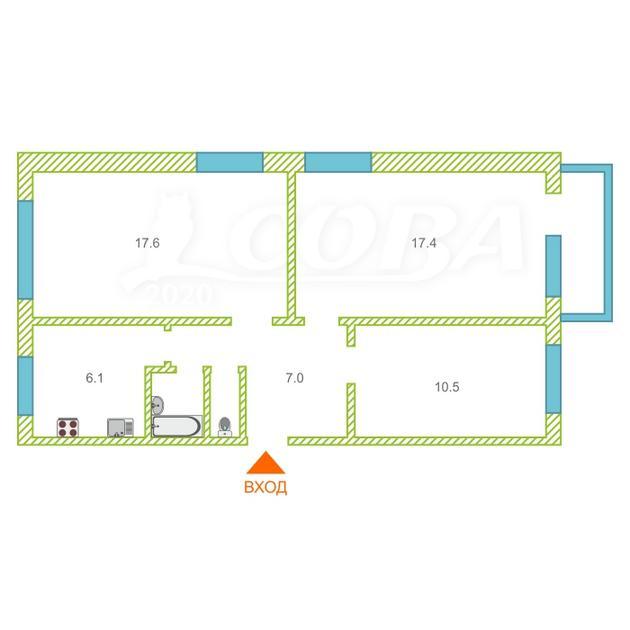 3 комнатная квартира  в районе Воровского, ул. Воровского, 31, г. Тюмень