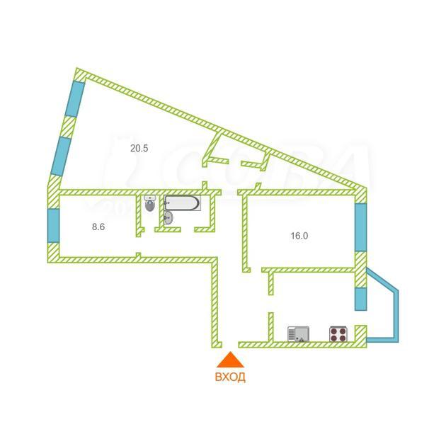 3 комнатная квартира  в районе Центральный, ул. проспект Ленина, 35, г. Сургут