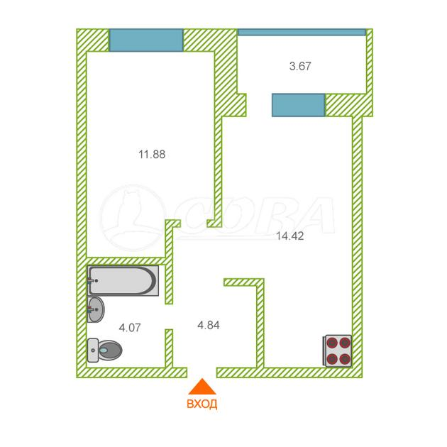 1 комнатная квартира  в районе Московского тр., ул. Невская, 109, ЖК  «Квартал на Московском», г. Тюмень