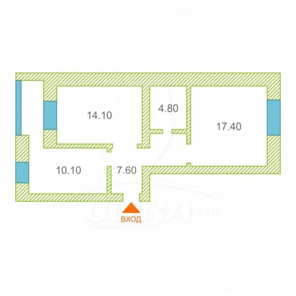 2 комнатная квартира  в районе Мыс, ул. Малиновского, 6А/2, г. Тюмень