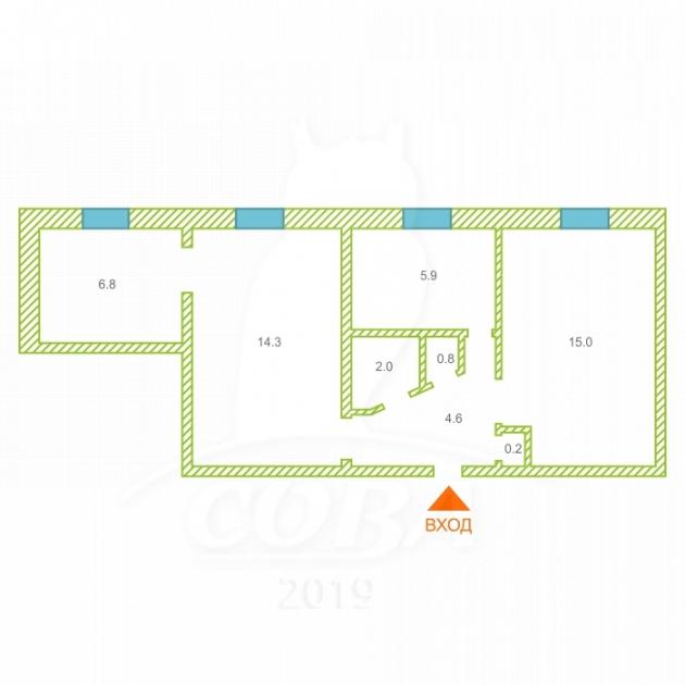 3 комнатная квартира , ул. Железнодорожников, 7, п. Картымский