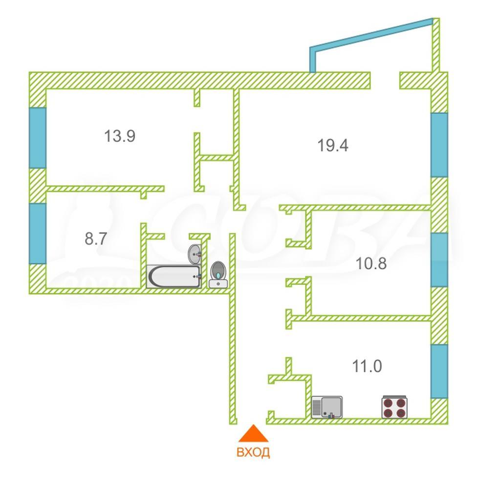 3 комнатная квартира  в районе УБР, ул. проспект Ленина, 74, г. Сургут