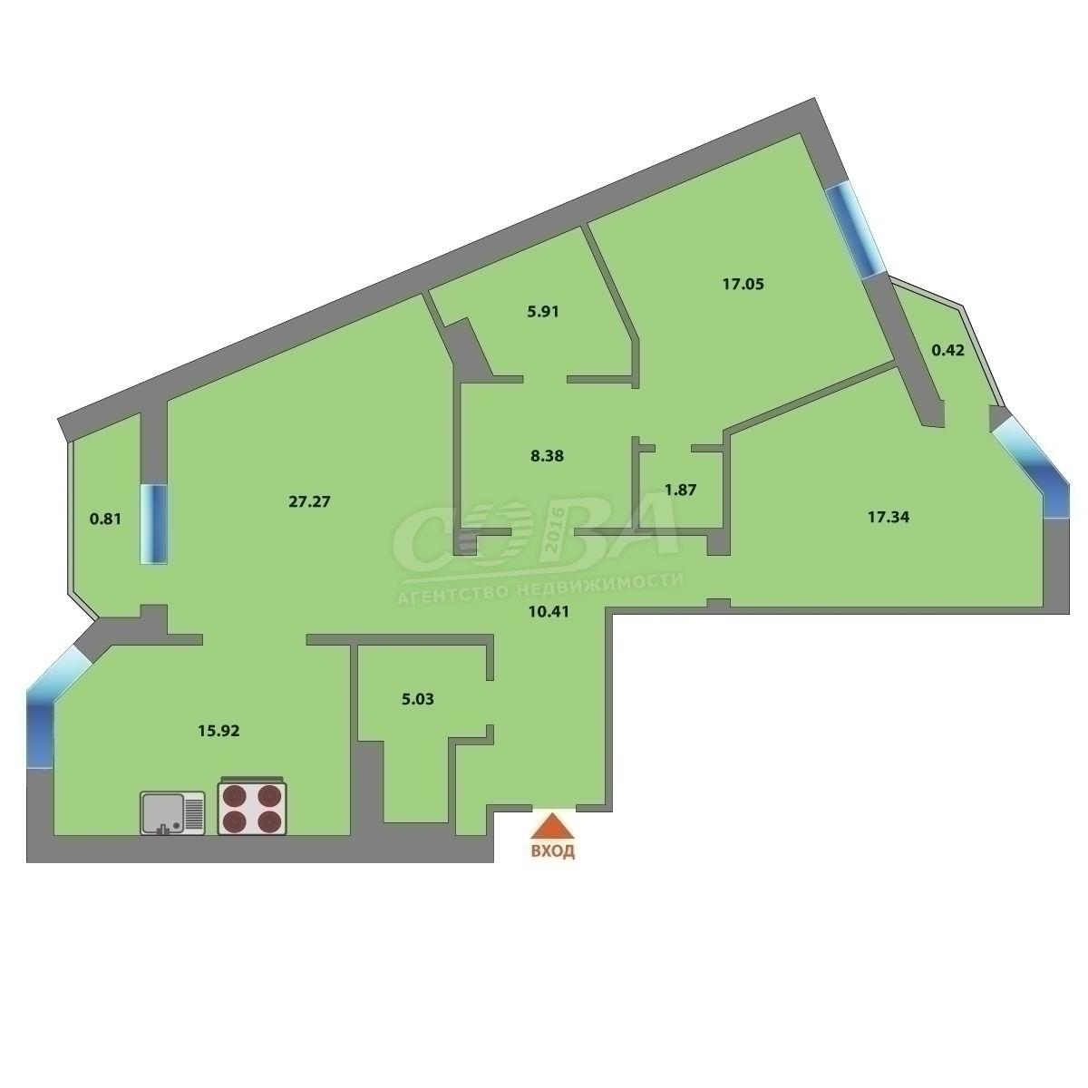 3 комнатная квартира  в Заречном 3 мкрн., ул. Заречный проезд, 33, г. Тюмень