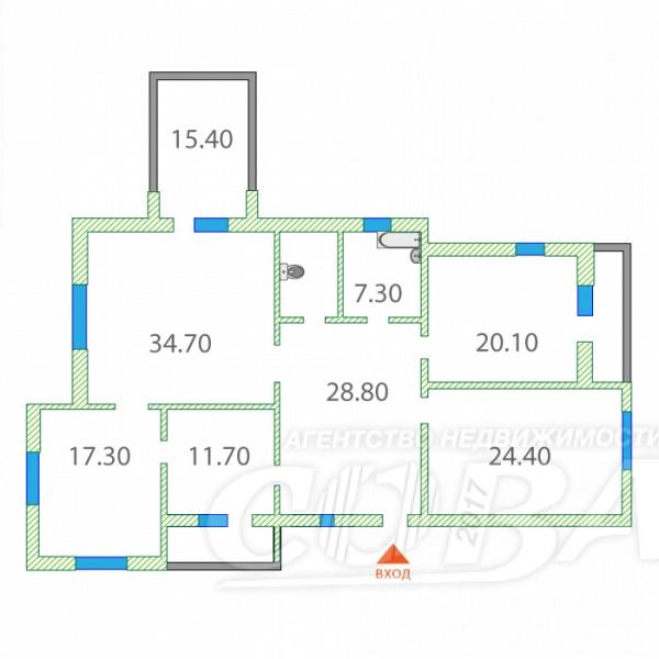3 комнатная квартира  в 5 микрорайоне, ул. Александра Логунова, 11, ЖК «Озерные аркады», г. Тюмень