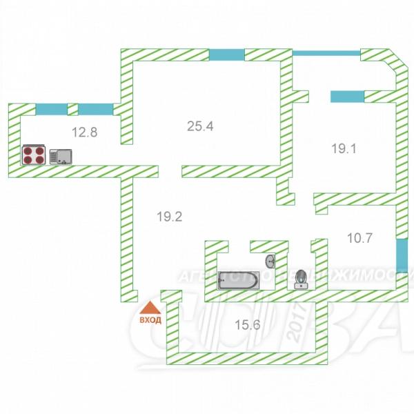 4 комнатная квартира  в 6 микрорайоне, ул. Мельникайте, 125А, г. Тюмень