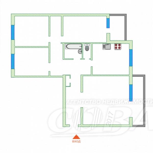 4 комнатная квартира  в районе Нагорный Тобольск, ул. 9-й микрорайон, 34А, г. Тобольск