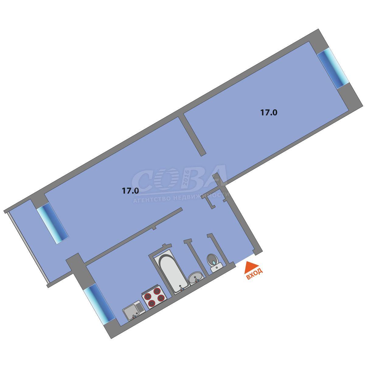 2 комнатная квартира  в районе Воровского, ул. Воровского, 29, г. Тюмень