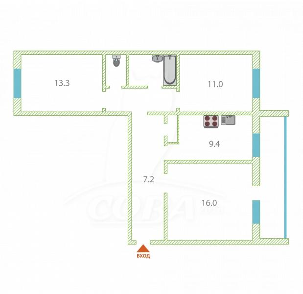 3 комнатная квартира  в центре, ул. Заводская, 24, п. Винзили