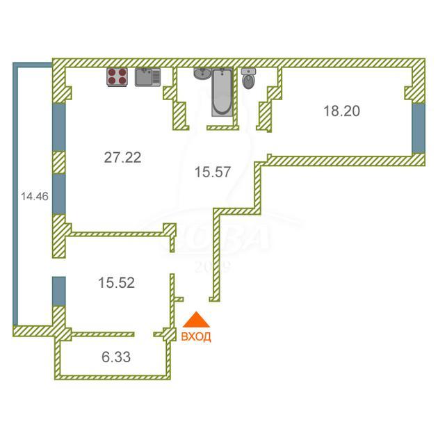 2 комнатная квартира  в Тюменском-4 мкрн., ул. Дмитрия Менделеева, 16, Жилой комплекс «на Менделеева», г. Тюмень