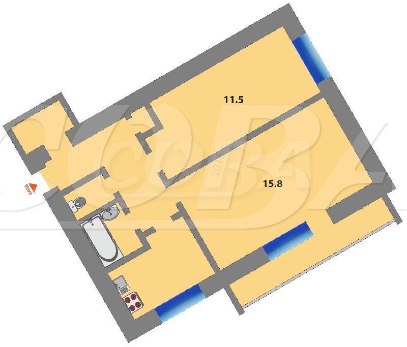 2 комнатная квартира , ул. Калинина, 3, с. Шорохово