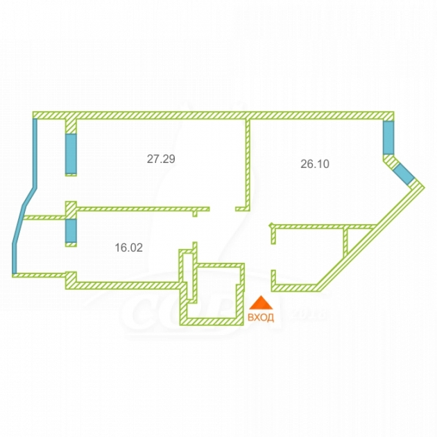 2 комнатная квартира  в районе ТЦ «Премьер», ул. Малыгина, 90, Жилой комплекс «Паруса», г. Тюмень